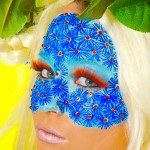 Blue flower face makeup